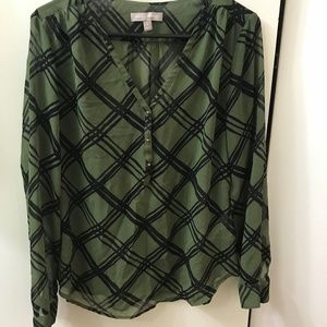 Banana Republic Black & Green Blouse